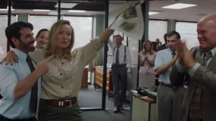 La actriz Olivia Wilde en su papel como la periodista Kathy Scruggs.