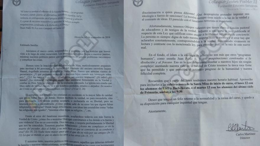 Carta distribuida por el director del colegio Juan Pablo II de Alcorcón (Madrid)