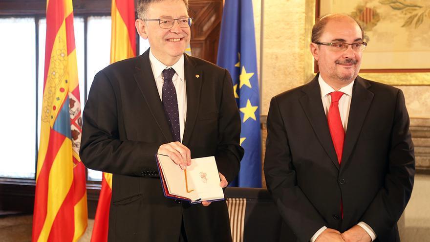 Los presidentes de la Comunidad Valenciana y Aragón, Ximo Puig y Javier Lambán