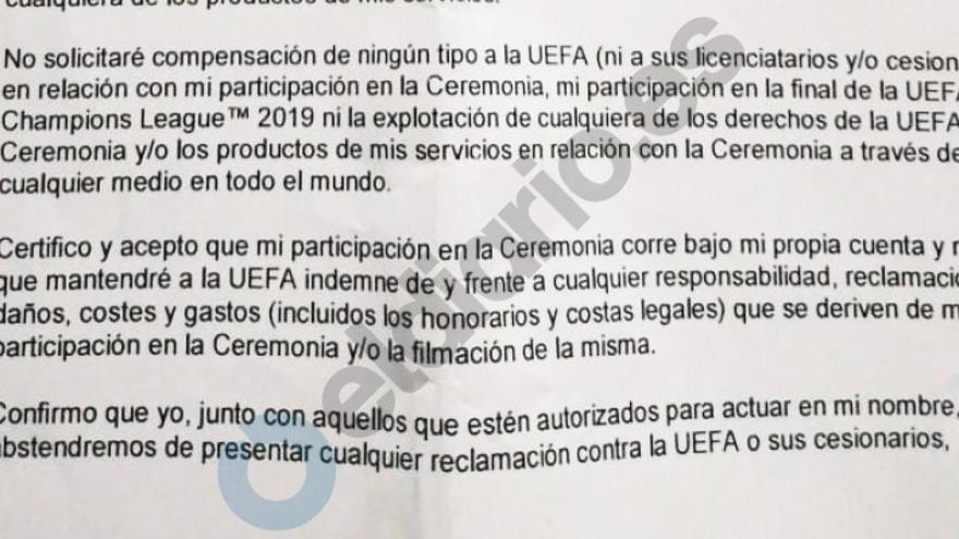 Extracto del 'Formulario de exención de responsabilidad', con el compromiso de no reclamar ninguna compensación a la UEFA y de no presentar ninguna denuncia.