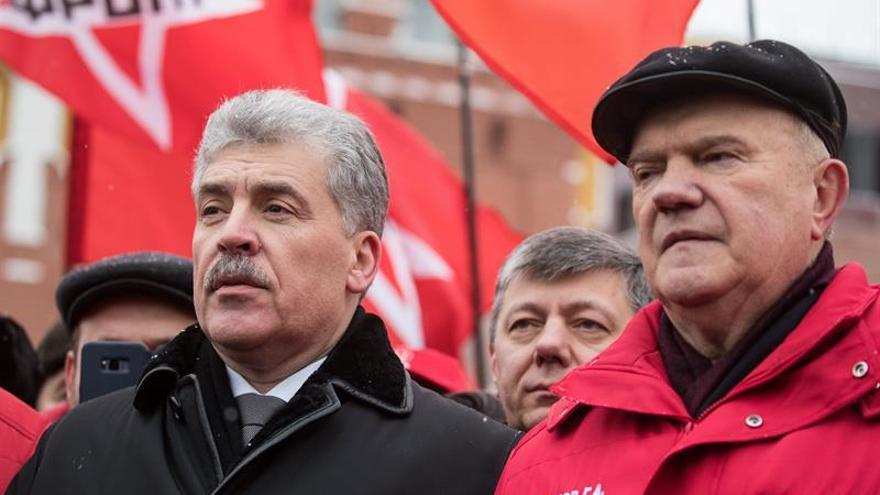 El candidato comunista Grudinin homenajea a Lenin en el aniversario de su muerte
