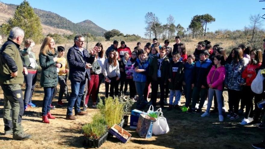 Alumnos de los Institutos de Educación Secundaria que han participado en la reforestación de Yeste y Molinicos. FOTO: JCCM