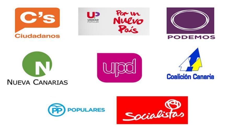 Logos de los principales partidos que se presentan al Congreso de los Diputados en Canarias