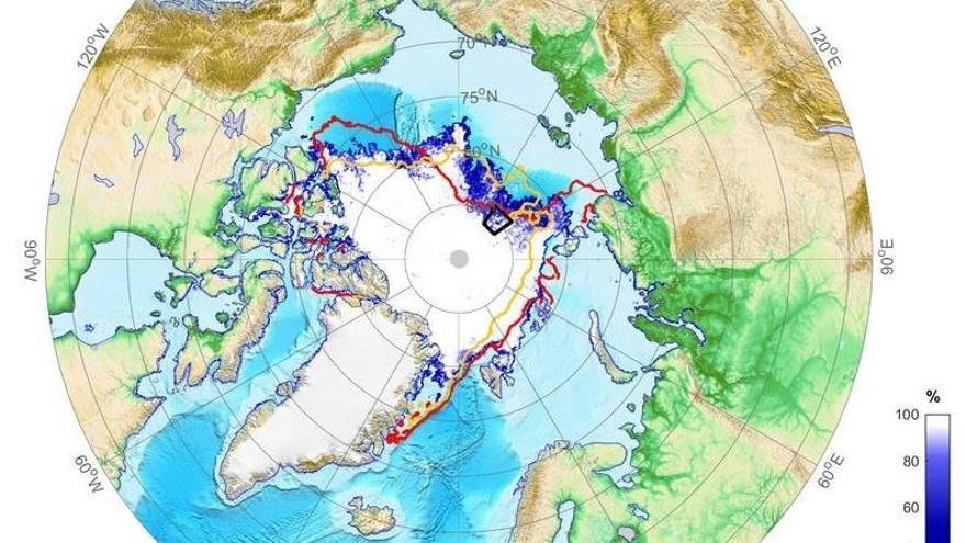 La extensión de hielo marino en el Ártico se acerca a su mínimo anual al fin de la temporada de deshielo en septiembre.