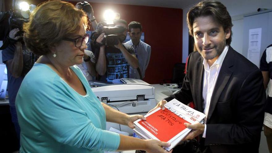 Gustavo Matos presenta sus avales para optar a las primarias del PSOE. (Efe)
