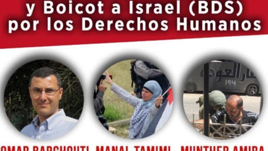 """Cartel de la nueva convocatorio de la mesa """"Resistencia no violenta y Boicot a Israel (BDS) por los Derechos Humanos""""."""