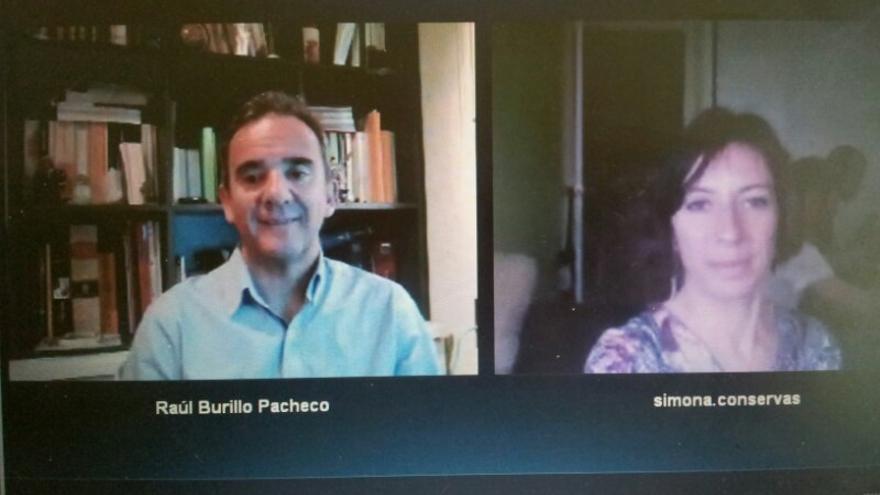Simona Levi y Raúl Burillo, números dos y tres de la lista del Partido X, en videoconferencia con eldiario.es