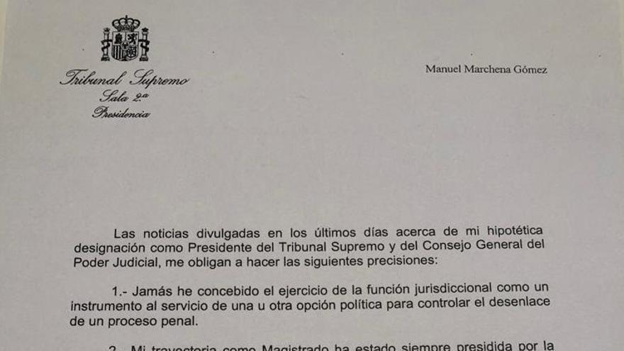 La carta en la que Marchena ha anunciado su renuncia a presidir el CGPJ