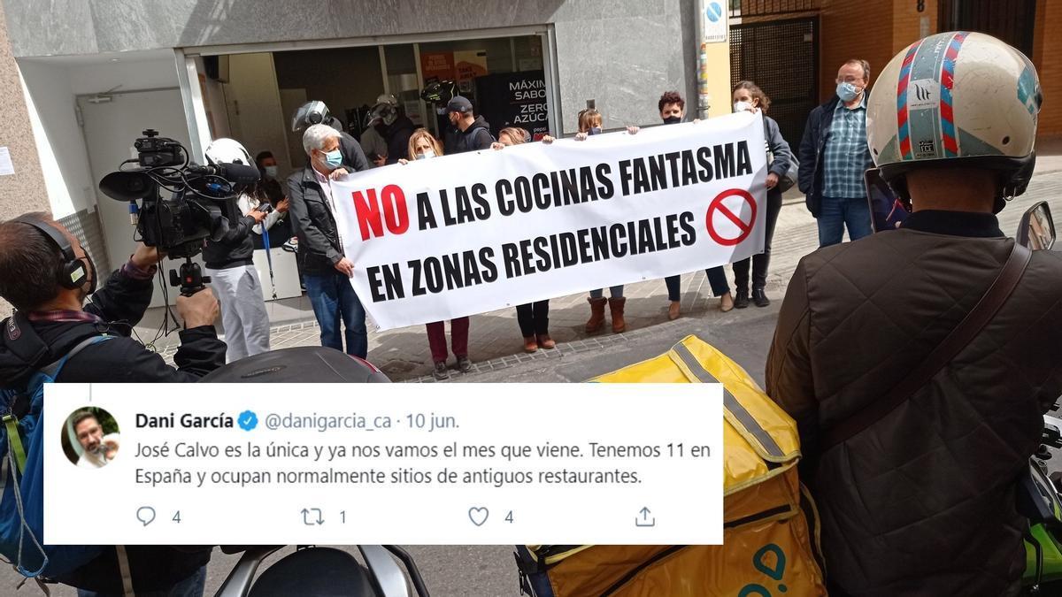 Respuesta del chef Dani García sobre las cocinas de José Calvo 10. En la imagen de fondo, una protesta vecinal en este punto