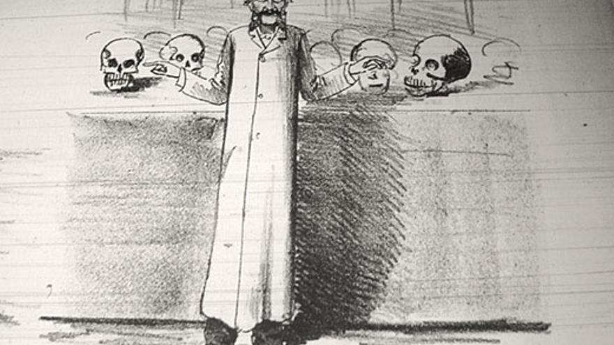 Caricatura de Guido Bennati publicada por la prensa en 1883.