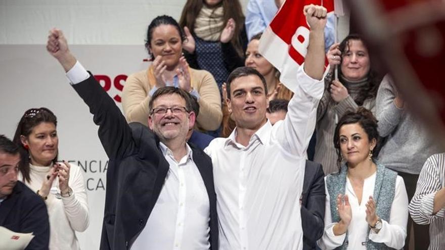 Ximo Puig y Pedro Sánchez en un mitin del PSPV.