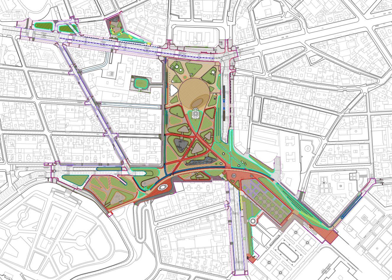 Plano de las áreas en las que actuará el proyecto de Plaza España