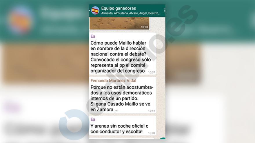 Fragmento de la conversación de whatsApp de concejales y asesores del PP en Madrid en el que interviene Esperanza Aguirre con las iniciales Ea.