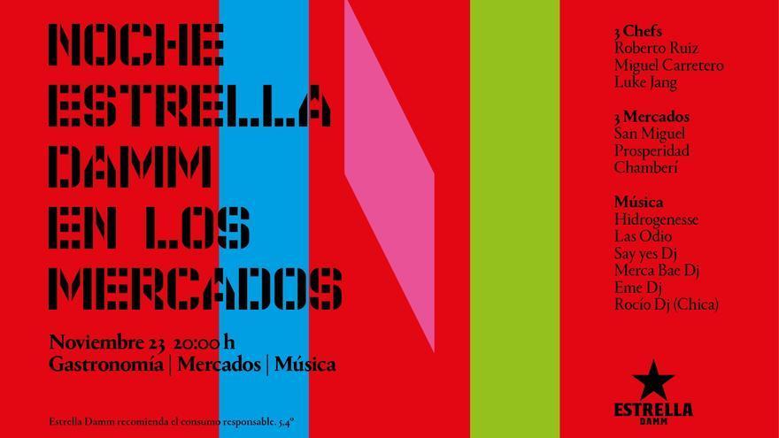 """Cartel de la segunda edición de la """"Noche Estrella Damm en los mercados""""."""