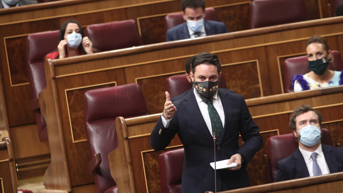 El líder de Vox, Santiago Abascal, en el Pleno del Congreso
