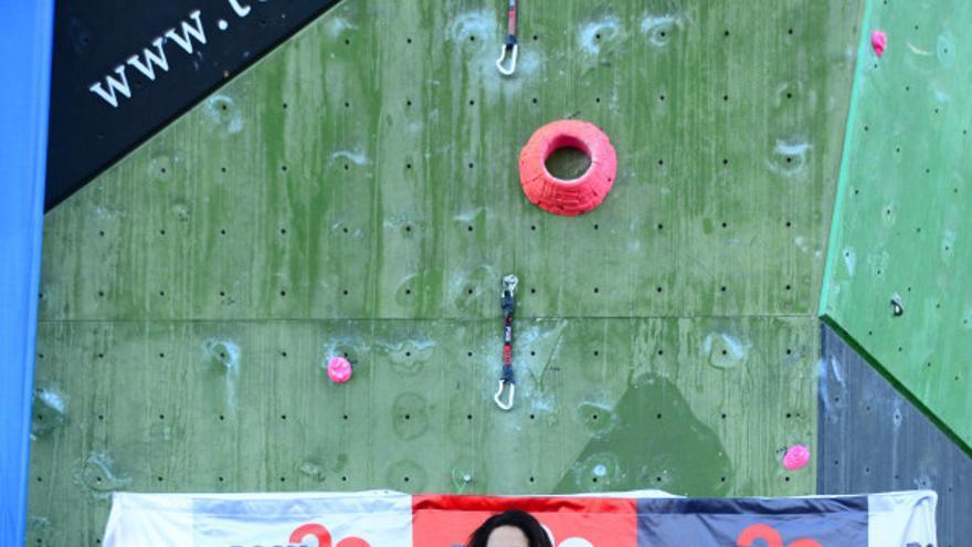 Podio femenino del Campeonato de España de Escalada de Dificultad (© David Munilla / FEDME).