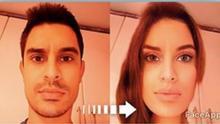 Imagen de la cuenta de Twitter de David Suárez donde puede verse su imagen como mujer gracias a una app.
