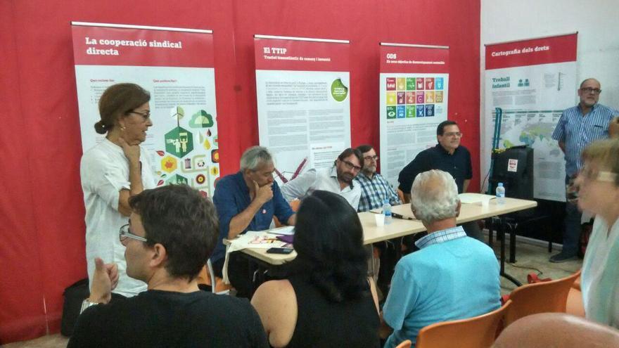 Mesa redonda de la presentación de la exposición sobre la Olimpiada Popular  FOTO: Tomeu Ferrer