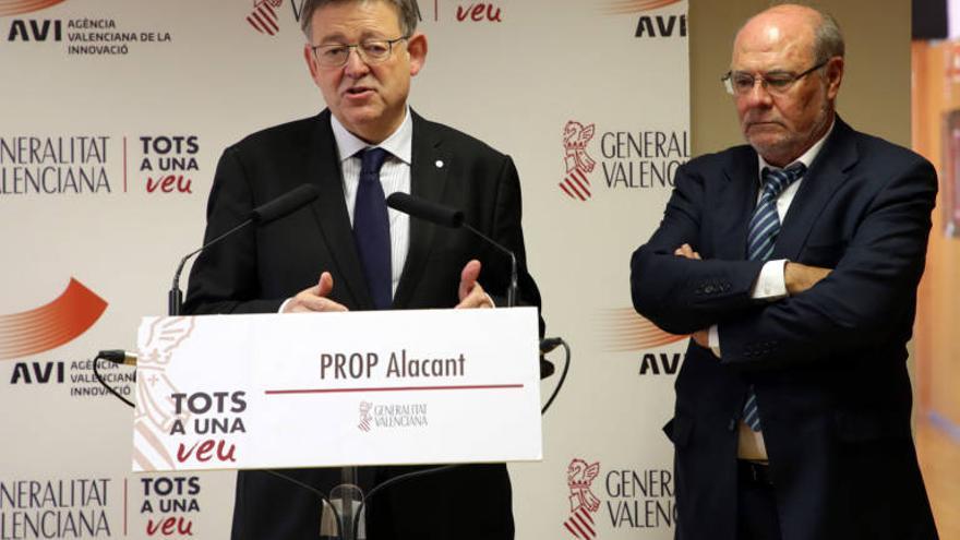 Ximo Puig, presidente de AVI, junto al vicepresidente ejecutivo de la entidad Andrés García Reche.