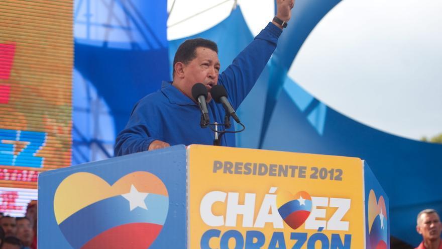 Chávez durante la campaña electoral de su tercera reelección