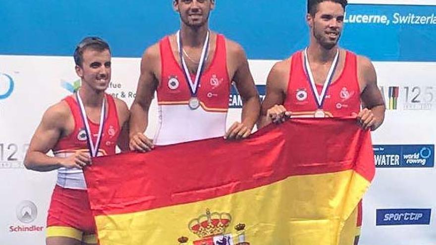 El dos con timonel andaluz formado por Jaime Lara, Marco Sardelli y Tomás Jurado, bronce en Lucerna 2017