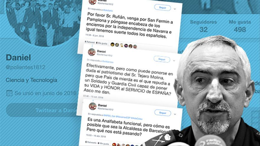 Tuits de la cuenta @polientes1612 del comisario Daniel Rodríguez