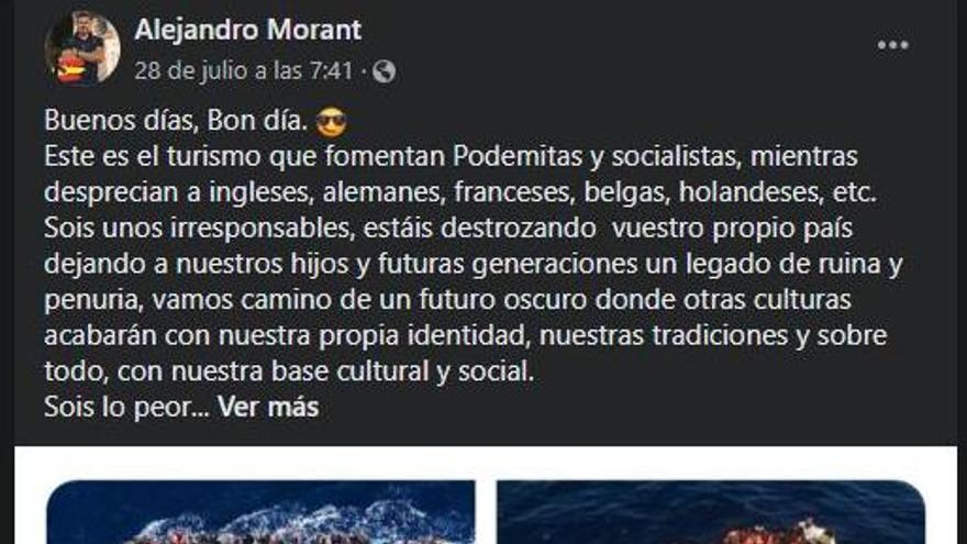La publicación de Alejandro Morant en Facebook.