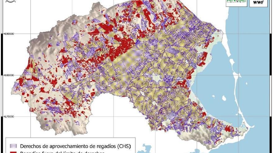 Distribución de los regadíos fuera del ámbito de los derechos de aprovechamiento en el ámbito del Mar Menor/ ANSE