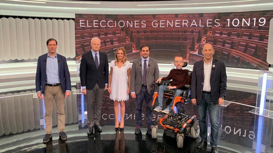 Los candidatos aragoneses a las elecciones generales del 10N en el debate de Aragón TV.
