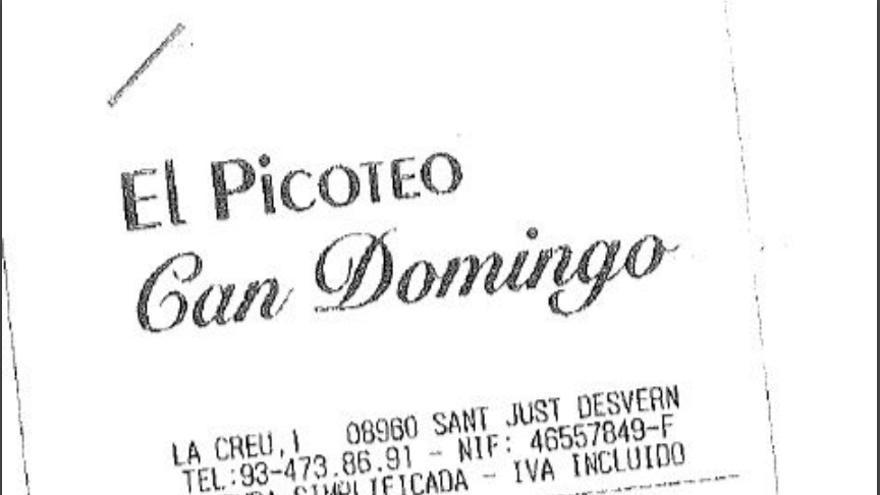 Detalle de la factura del restaurante Can Domingo