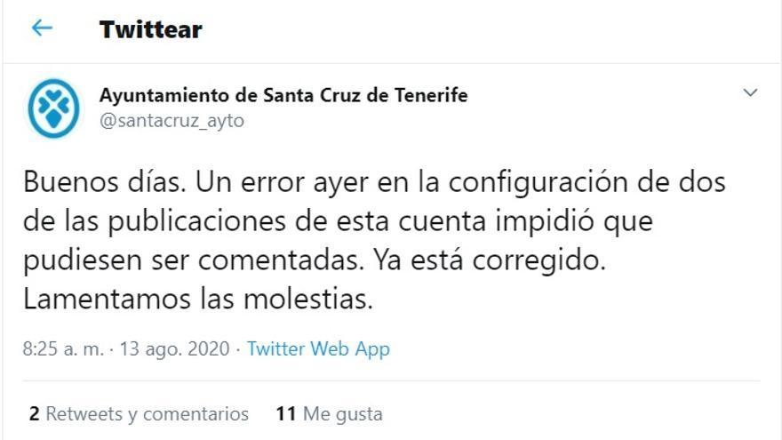 """Santa Cruz de Tenerife atribuye a """"un error"""" que este miércoles no se permitiera comentar las publicaciones de su Twitter institucional"""