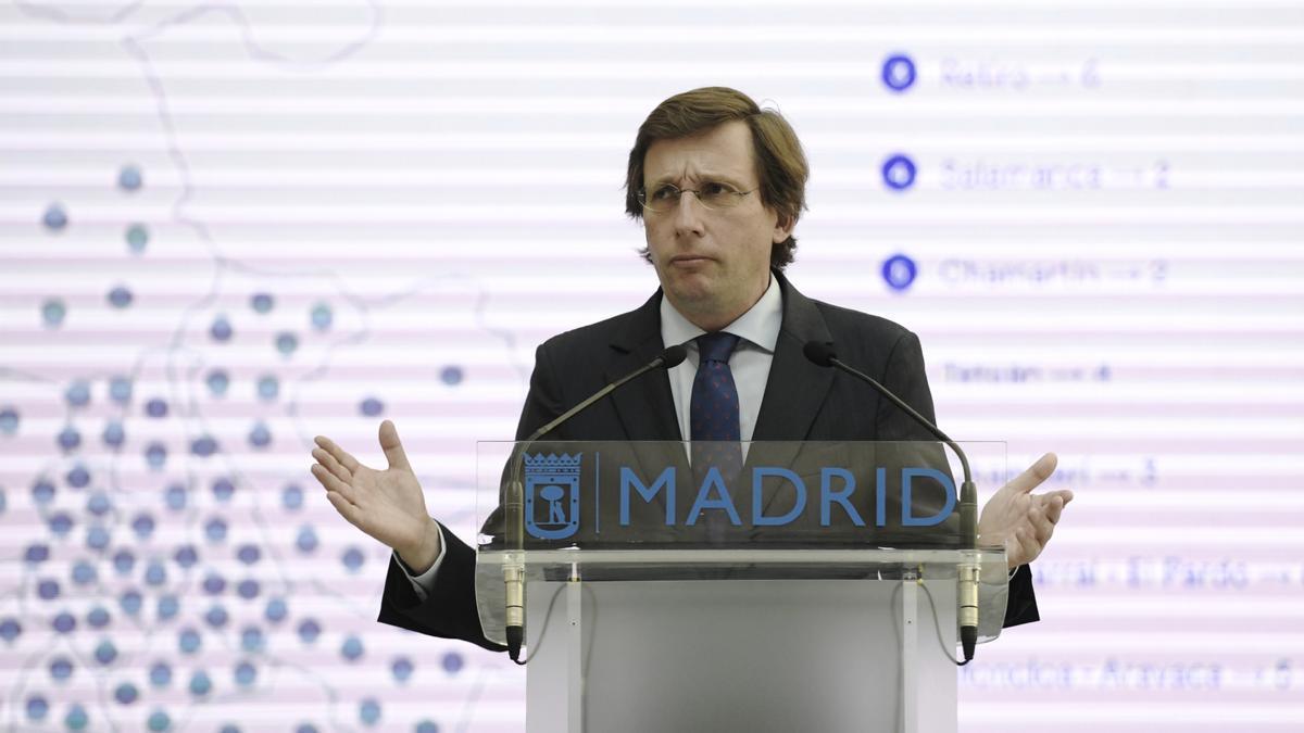 El alcalde de Madrid, José Luis Martínez-Almeida, en la presentación de su plan de equipamientos.