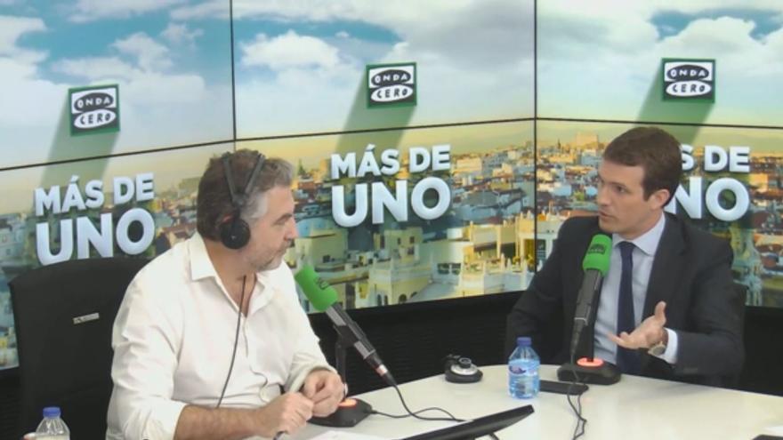 Pablo Casado, en el programa 'Más de Uno', de Carlos Alsina