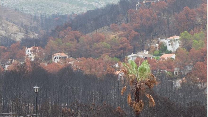 Casas afectadas en el término municipal de Gandía por el incendio forestal de Llutxent provocado por causas naturales (rayo) en 2018.