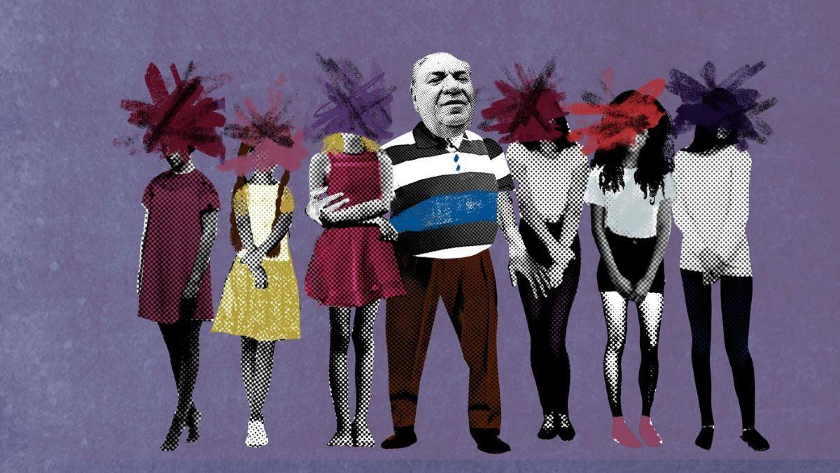 Ilustración del empresario Samuel Klein rodeado de cuerpos de mujeres