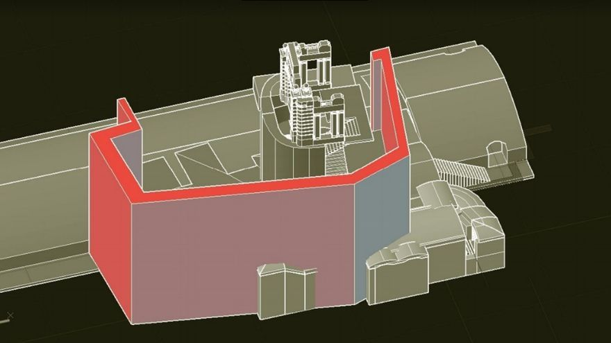 Modelo 3D de la estación histórica en grisalla (1917-1934) y pantalla de pilotes en rojo que destruiría la estación | MCyP