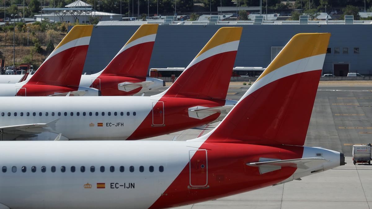 En la imagen, aviones de Iberia en el aeropuerto de Madrid-Barajas.