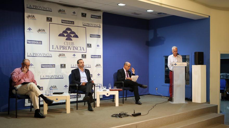 Debate en el Club Prensa Canaria de los aspirantes a Rector de la ULPGC, Eduardo Galván, Rafael Robaina y Alberto Montoya.