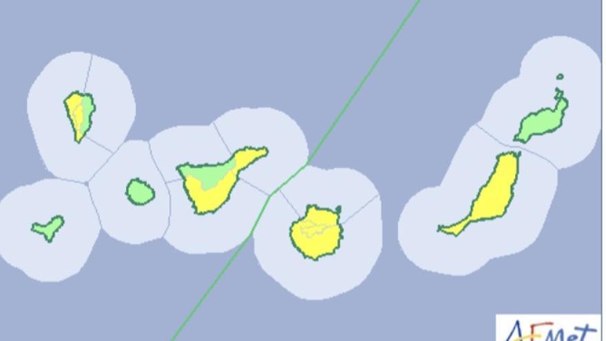 Mapa de la Aemet del aviso del riesgo por temperaturas máximas para este domingo, 25 de agosto de 2019.