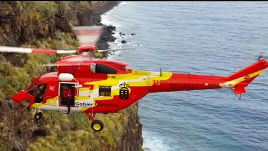 Helicóptero del Grupo de Emergencias y Salvamento (GES) del Gobierno de Canarias.
