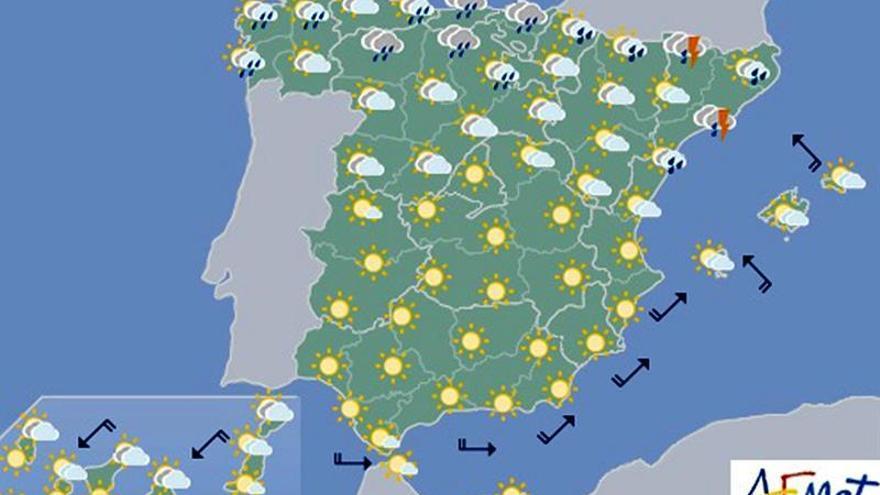 Hoy, lluvia en áreas de Cataluña, Baleares y del norte peninsular