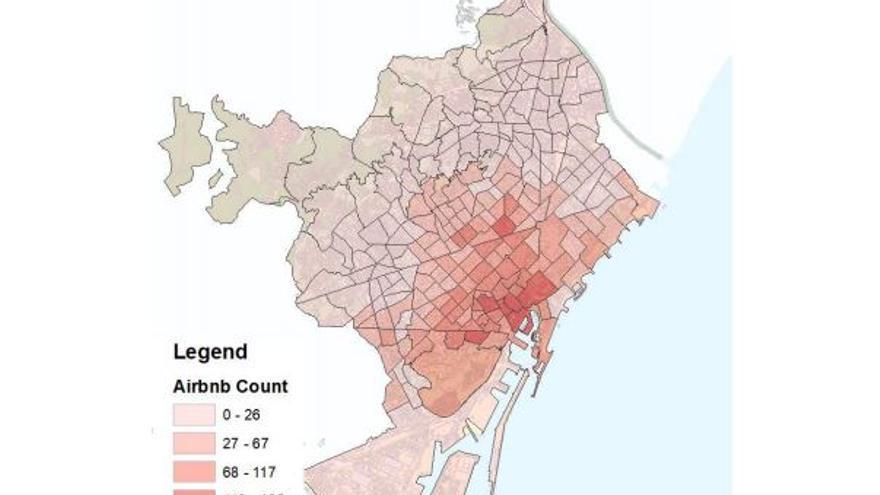 Actividad de Airbnb por barrios (áreas estadísticas básicas) en 2016 en Barcelona