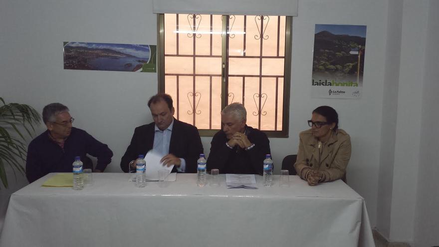 De izquierda a derecha, el presidente de Casitas La Palma, el viceconsejero de Turismo, el  consejero de Agricultura y Ganadería del Gobierno de Canarias y la alcaldesa de Los Llanos, en la reunión celebrada recientemente.