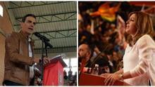 Pedro Sánchez y Susana Díaz en sendos actos de precampaña de primarias.