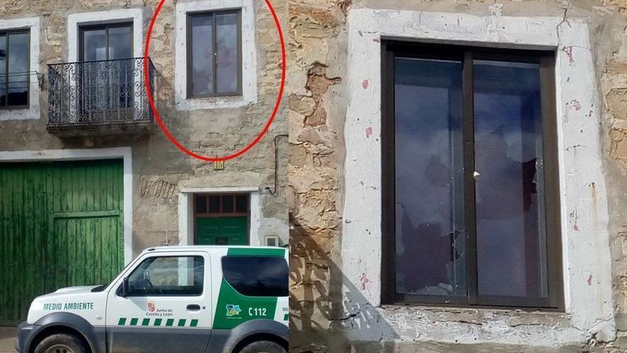 Imagen de los disparos en la vivienda del agente medioambiental.