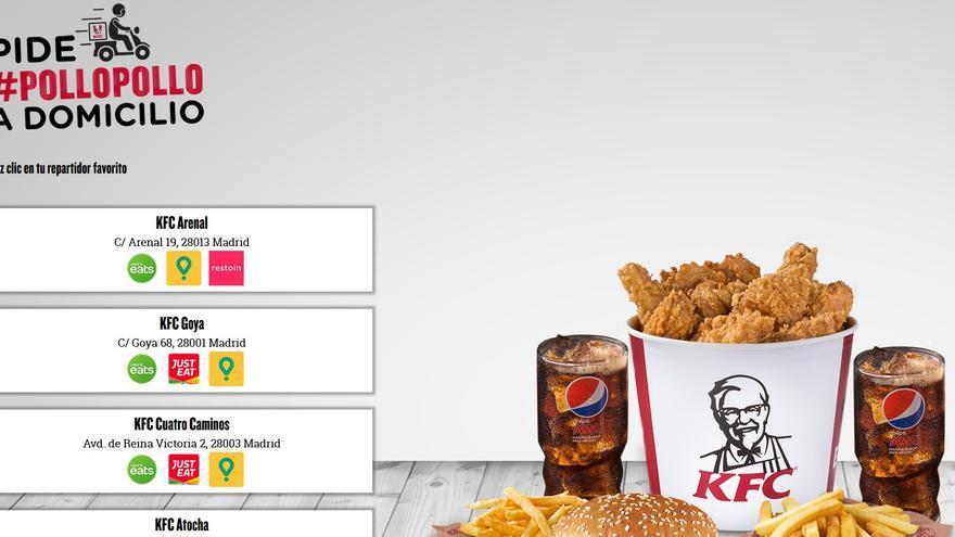 Captura de la página web de KFC con los servicios de reparto disponibles para una calle del centro de Madrid.