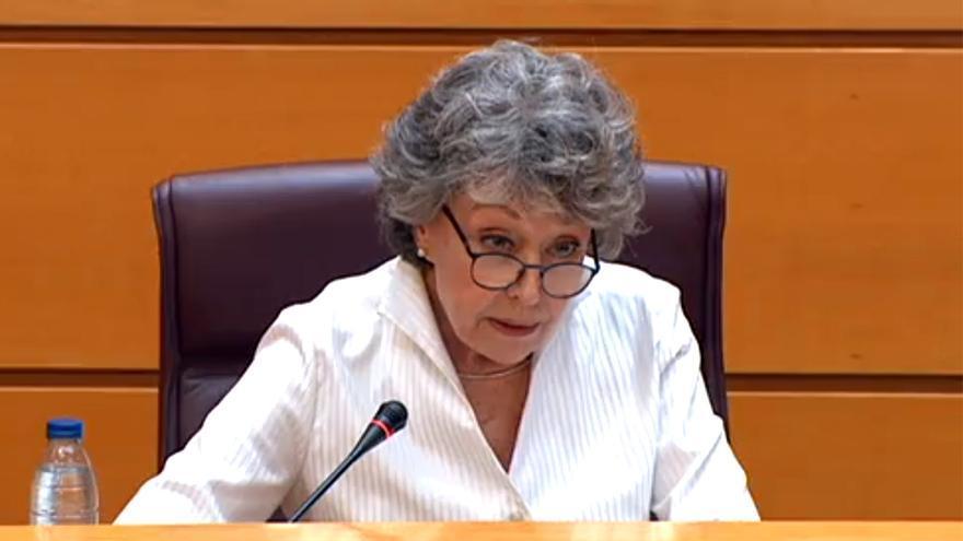 Rosa María Mateo, en el Senado este viernes 26 de junio