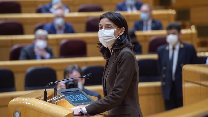 La presidenta del Senado, Pilar Llop, interviene durante una sesión de control al Gobierno en el Senado, a 25 de mayo de 2021, en Madrid (España).