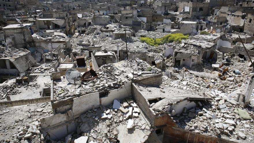 Un antiguo mercado de fruta y verduras en Bustan al Qaser, en Alepo, el pasado seis de abril. / Amnesty International (Photo: Mujahid Abu al-Joud).