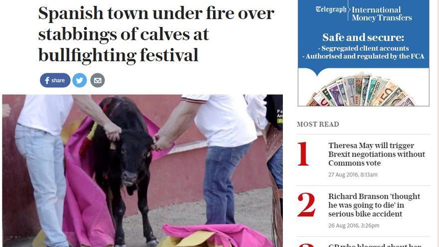 Captura de Pantalla 'The Telegraph' de las becerradas de Valmojado